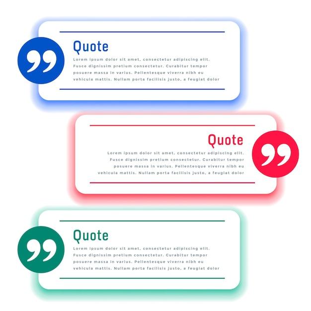 Ящики для отзывов или шаблон цитат в трех цветах Бесплатные векторы