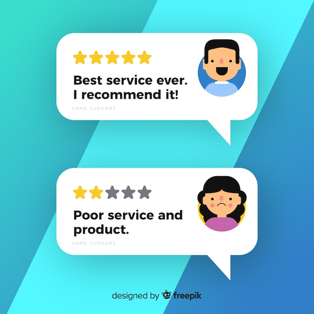 Testimonial design with speech bubbles Free Vector