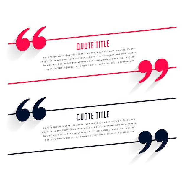 Шаблон отзыва или цитаты в двух цветах Бесплатные векторы