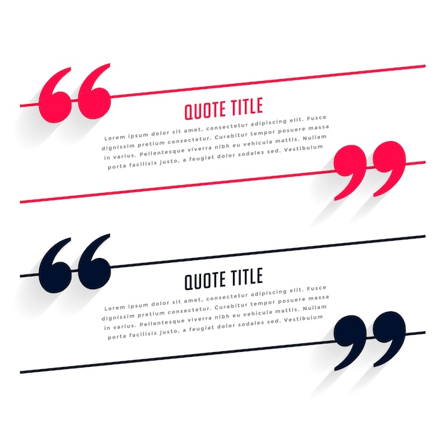 Testimonial or quotes template in two colors Free Vector