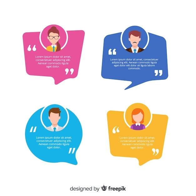 Testimonial with speech bubble design Free Vector
