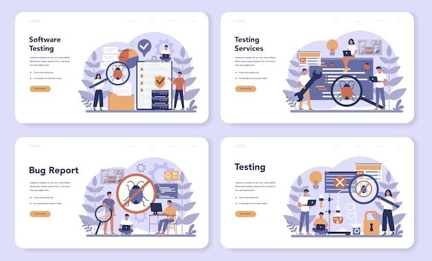 テストソフトウェアのwebランディングページセット。アプリケーションまたはウェブサイトのコードテストプロセス。バグを探しているitスペシャリスト。コンピュータ技術のアイデア。漫画スタイルのベクトルイラスト Premiumベクター