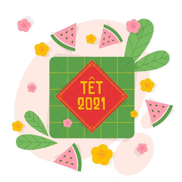 Têt capodanno vietnamita in design piatto Vettore gratuito