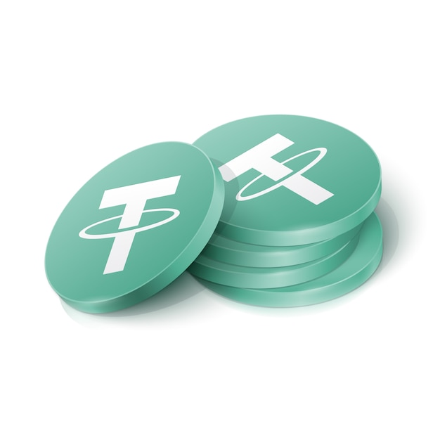 Tether cryptocurrency tokens Premium Vector