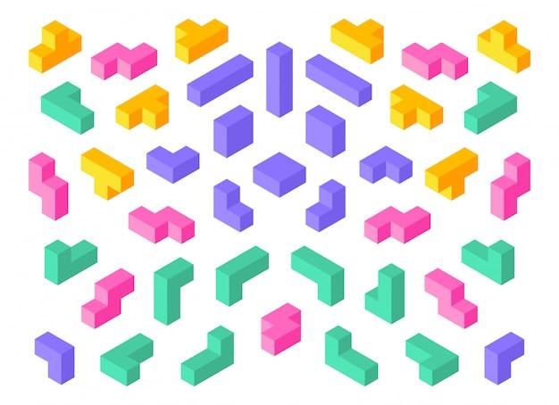 テトリスの形。等尺性3 dパズルゲーム要素カラフルなキューブ抽象的なブロック。 Premiumベクター