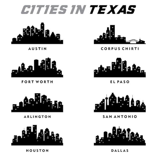Texas cities silhouette Premium Vector