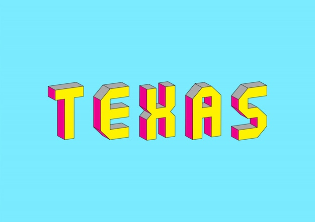 Texas text with 3d isometric effect Premium Vector