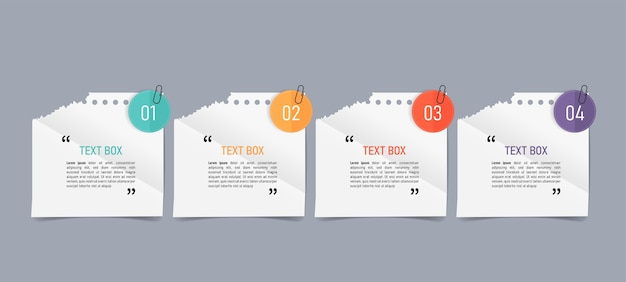 Text box design with note papers Premium Vector