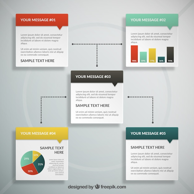 Text box infography vector free download for Text table design