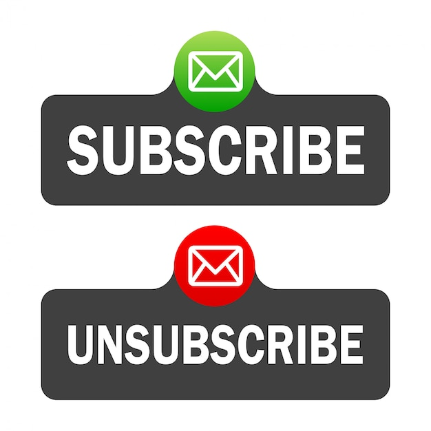 Text box and subscribe button template with the notification bell icon. Premium Vector