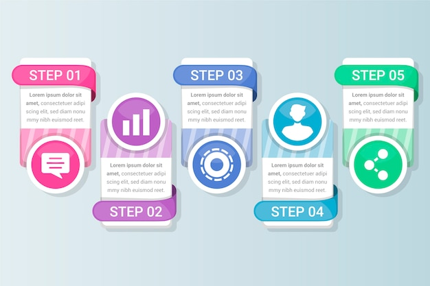 Text boxes and flat design infographic with steps and options Free Vector