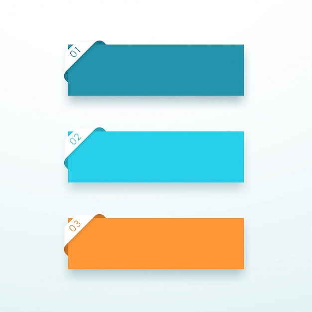 Text boxes number one to three corner ribbon set Premium Vector