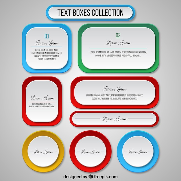 text boxes template collection vector free download