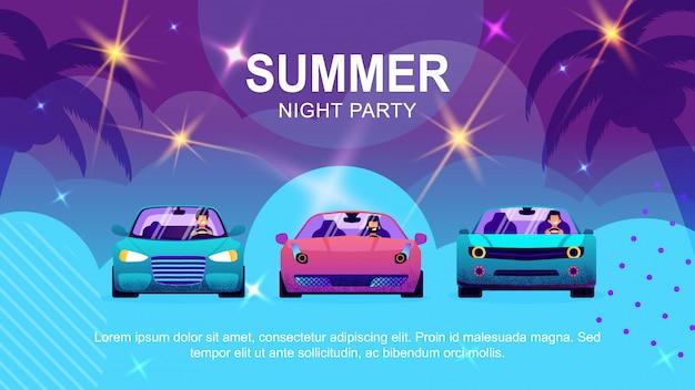 Text cartoon banner promoting summer auto party Premium Vector