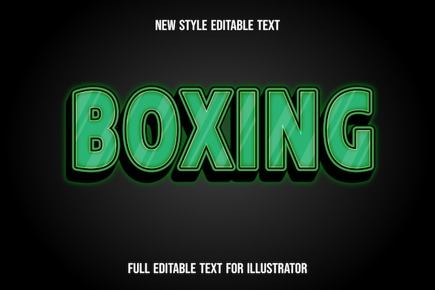 Text effect 3d boxing color green and black gradient Premium Vector