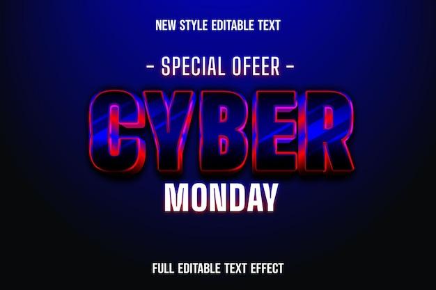 텍스트 효과 3d 특별 제공 사이버 월요일 색상 검정과 빨강 검정 프리미엄 벡터