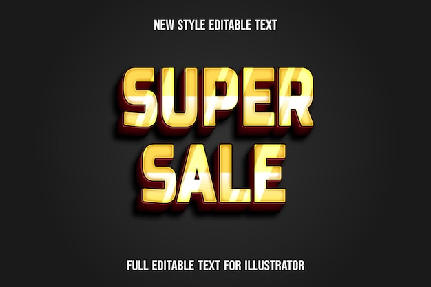 텍스트 효과 3d 슈퍼 판매 색상 노란색과 빨간색 그라디언트 프리미엄 벡터