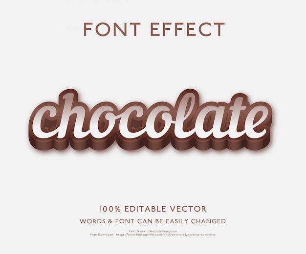 Текстовый эффект для шоколада с жирным 3d стиль премиум вектор Premium векторы