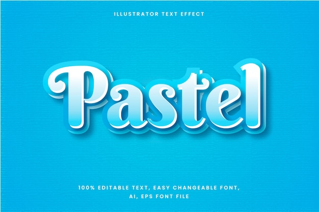 Text effect in gradient blue pastel word Free Vector