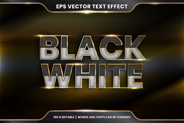 Текстовый эффект в 3d черно белые слова текстовый эффект тема редактируемый металлический золотой цвет Premium векторы