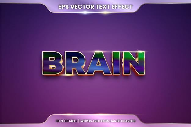 Текстовый эффект в 3d словах мозга, текстовый эффект тема редактируемый металлический градиент красочный концепт Premium векторы