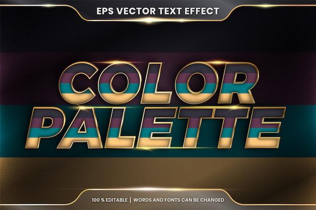 Текстовый эффект в словах из цветовой палитры 3d, редактируемая тема текстового эффекта красочная пастель с металлической золотой цветовой концепцией Premium векторы