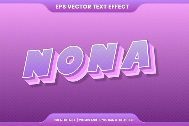 Эффект текста в 3d красочные нона слова текстовый эффект тема редактируемые ретро концепция Premium векторы