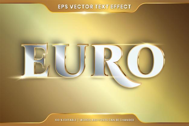 Текстовый эффект в 3d евро слова текстовый эффект тема редактируемый металл золото серебристый цвет концепция Premium векторы