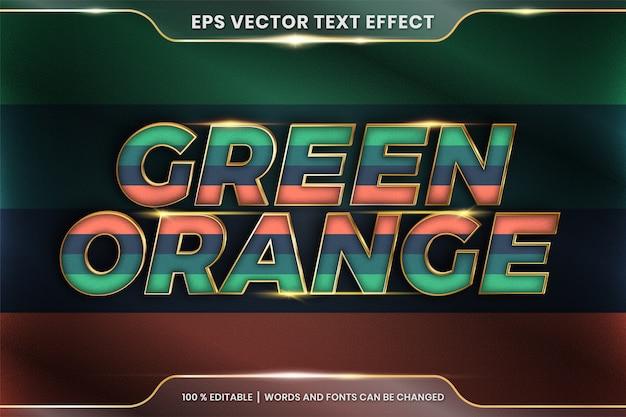 Текстовый эффект в 3d-зеленых оранжевых словах, редактируемая тема текстового эффекта красочная пастель с металлической золотой цветовой концепцией Premium векторы