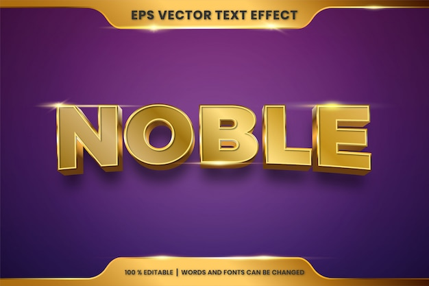 Текстовый эффект в 3d благородные слова текстовый эффект тема редактируемый металлический золотой цвет концепция Premium векторы