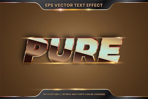 Текстовый эффект в 3d стилях шрифтов чистые слова тема редактируемая металлическая градиентная концепция золотого и бронзового цвета Premium векторы