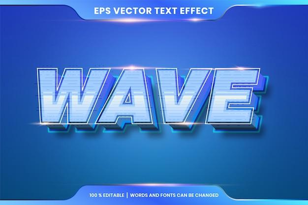 Текстовый эффект в 3d wave слова стили шрифта тема редактируемый градиент синий цвет концепция Premium векторы