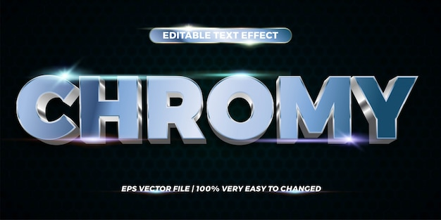 Текстовый эффект в хромированных словах текстовый эффект тема редактируемый металлический серебряный концепт Premium векторы