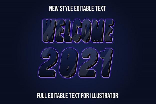 텍스트 효과 환영 새해 색상 진한 파란색과 검정색 그라디언트 프리미엄 벡터