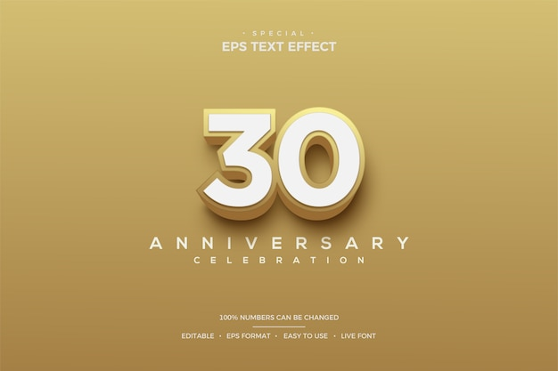 Text effect with 3d gold-colored 30th anniversary numbers. Premium Vector