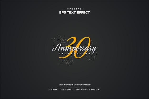 Текстовый эффект с элегантными цифрами 30-летия золотого цвета. Premium векторы
