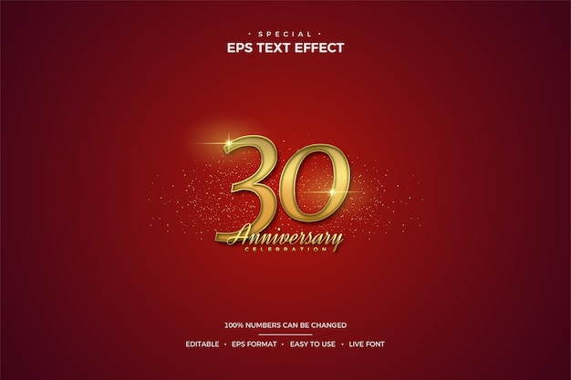 Text effect with luxurious gold 30th anniversary numbers on a red background. Premium Vector