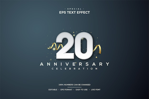 Text effect with number 20 in white with gold ribbon Premium Vector