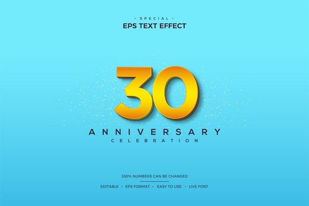 Текстовый эффект с цифрами на 30-летие с 3d-числами на ярко-синем фоне. Premium векторы