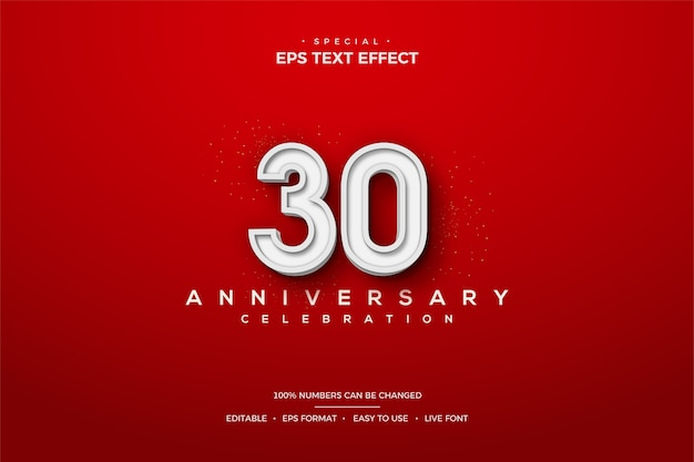 Text effect with white 3d number 30th anniversary. Premium Vector