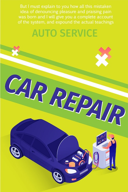 Text flyer template for professional car repair service Premium Vector