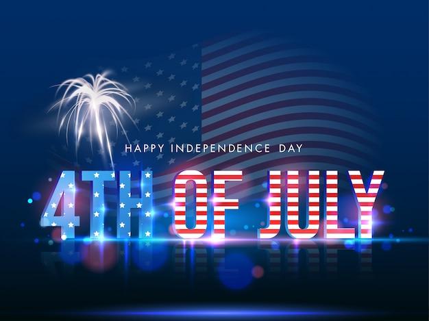 Текст в цвете американского флага с фейерверком на сияющей голубой предпосылке для счастливой концепции дня независимости. Premium векторы