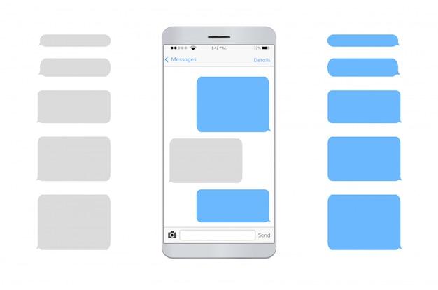 Text message mobile phone Premium Vector