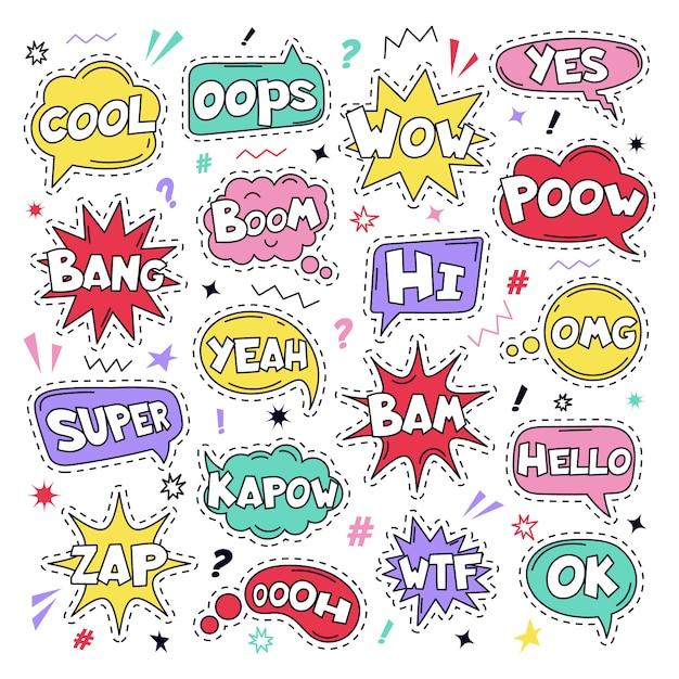 Текстовые патч-наклейки. речи комиксов смешные текстовые патчи, прохладно, челка и вау каракули комичные облака речи, думая пузыри и комиксы слова иллюстрации значок набор. ой, да и хорошо, знаки wtf Premium векторы