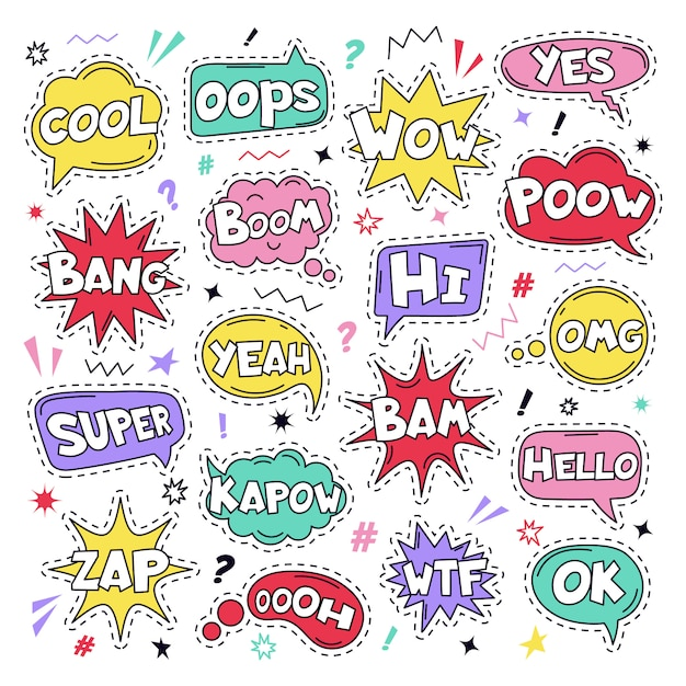 Text patch stickers. speech comic funny text patches, cool, bang and wow doodle comical speech clouds, thinking bubbles and comics words  illustration icon set. oops, yes and ok, wtf signs Premium Vector