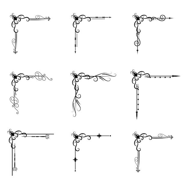 Разделитель текста decoratice разделитель книга типография орнамент элементы дизайна старинные разделительные фигуры граница иллюстрации Premium векторы