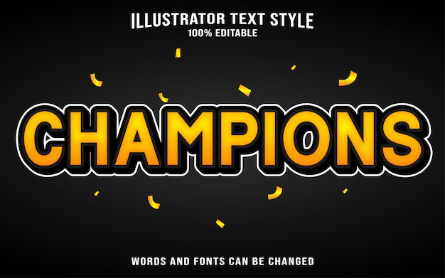 Text style champions Premium Vector