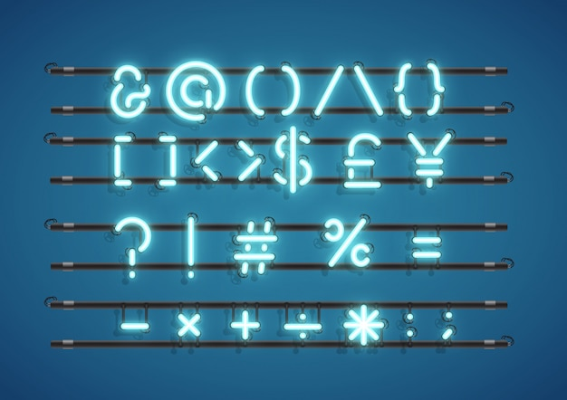 Text symbols neon sign Free Vector