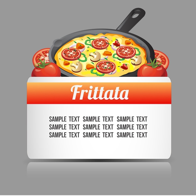 Text template with frittata food Premium Vector