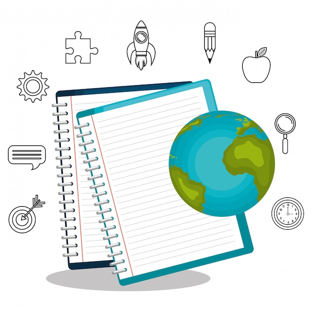Textbooks and educational helpful isolated icon design Premium Vector